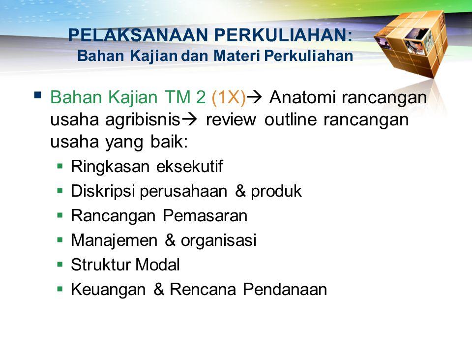 PELAKSANAAN PERKULIAHAN: Bahan Kajian dan Materi Perkuliahan  Bahan Kajian TM 2 (1X)  Anatomi rancangan usaha agribisnis  review outline rancangan