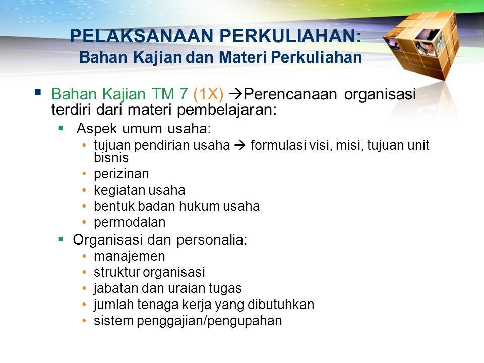PELAKSANAAN PERKULIAHAN: Bahan Kajian dan Materi Perkuliahan  Bahan Kajian TM 7 (1X)  Perencanaan organisasi terdiri dari materi pembelajaran:  Asp