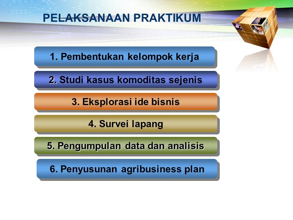 PELAKSANAAN PRAKTIKUM 1.Pembentukan kelompok kerja 2. 2. Studi kasus komoditas sejenis 3. Eksplorasi ide bisnis 4. Survei lapang 5. Pengumpulan data d
