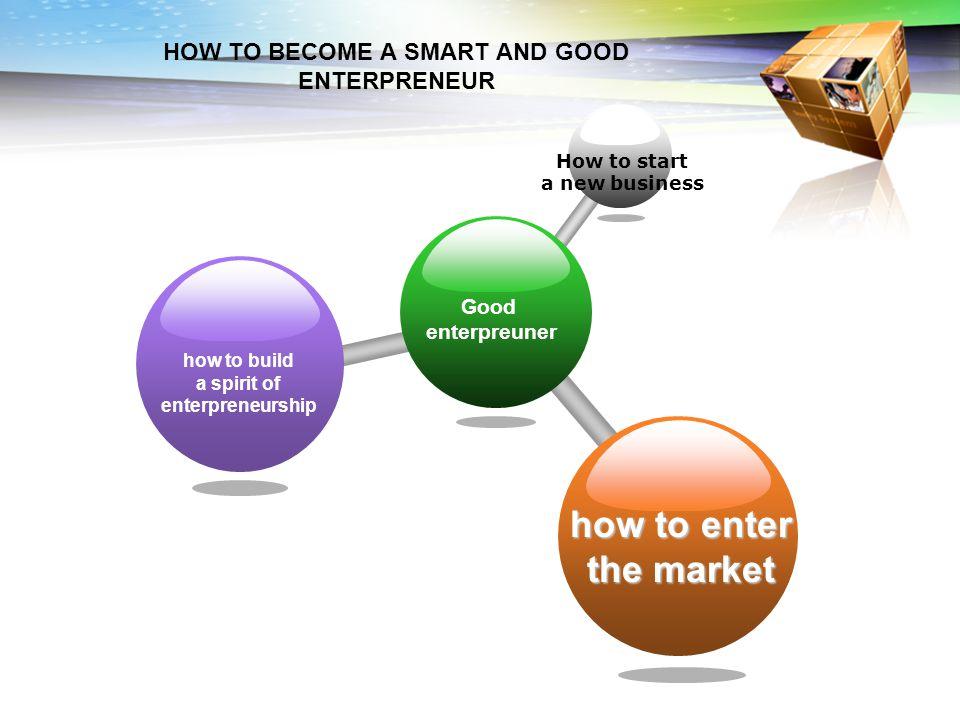 Good enterpreuner How to start a new business how to build a spirit of enterpreneurship how to enter the market