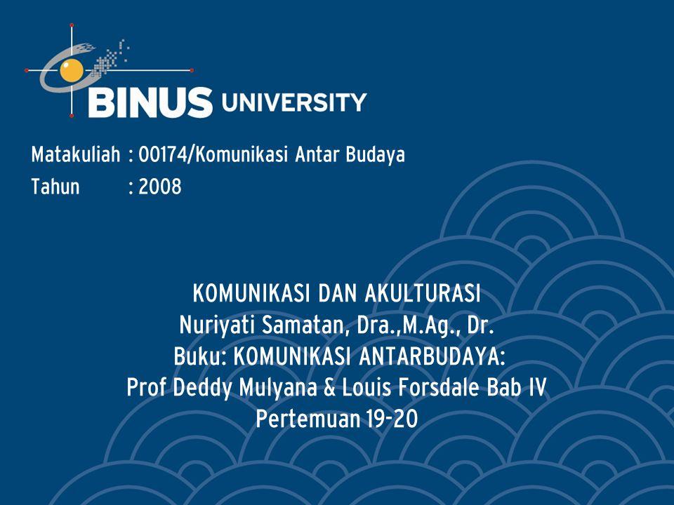 KOMUNIKASI DAN AKULTURASI Nuriyati Samatan, Dra.,M.Ag., Dr.