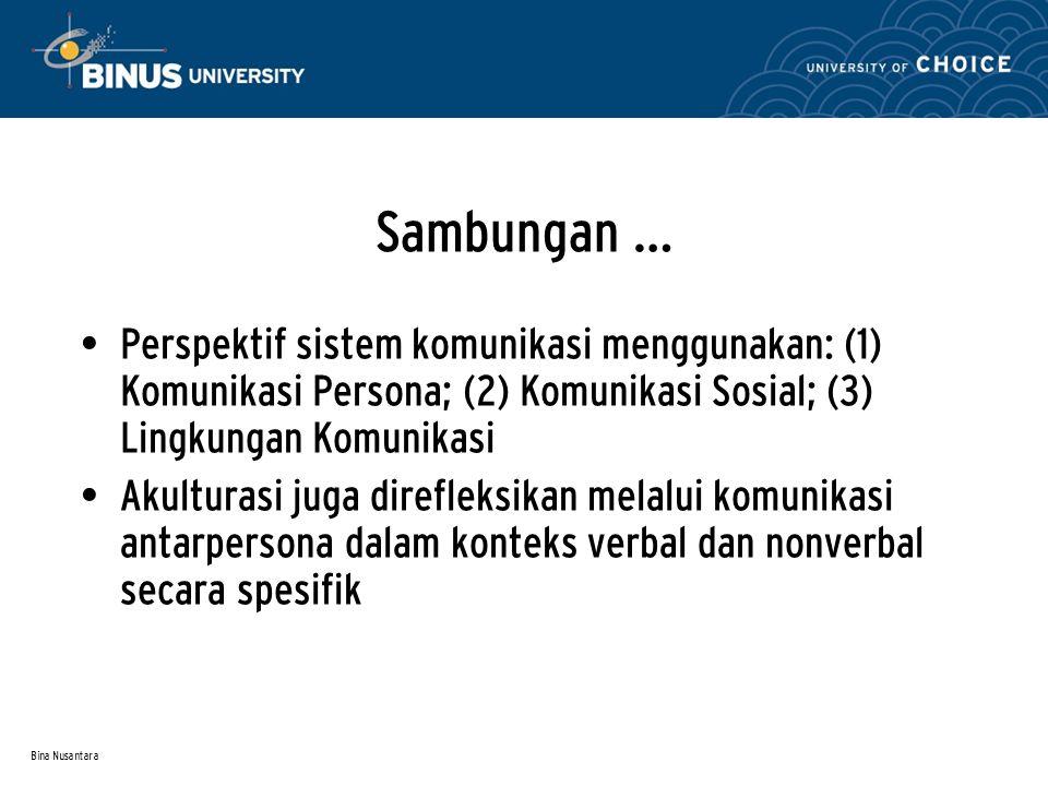 Bina Nusantara Sambungan … Perspektif sistem komunikasi menggunakan: (1) Komunikasi Persona; (2) Komunikasi Sosial; (3) Lingkungan Komunikasi Akultura