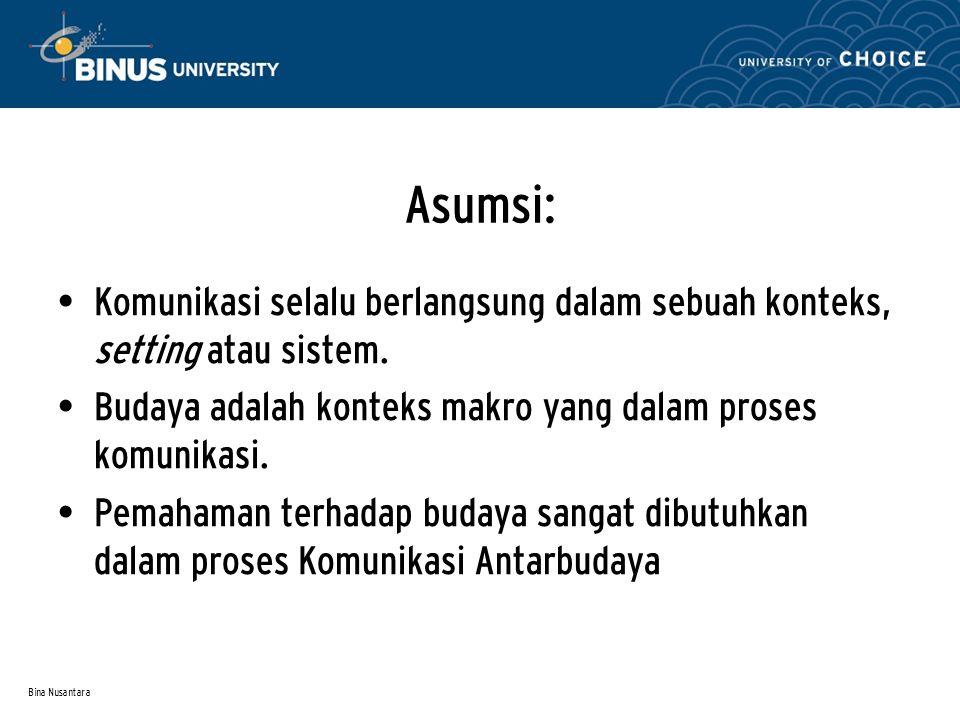 Bina Nusantara Asumsi: Komunikasi selalu berlangsung dalam sebuah konteks, setting atau sistem. Budaya adalah konteks makro yang dalam proses komunika