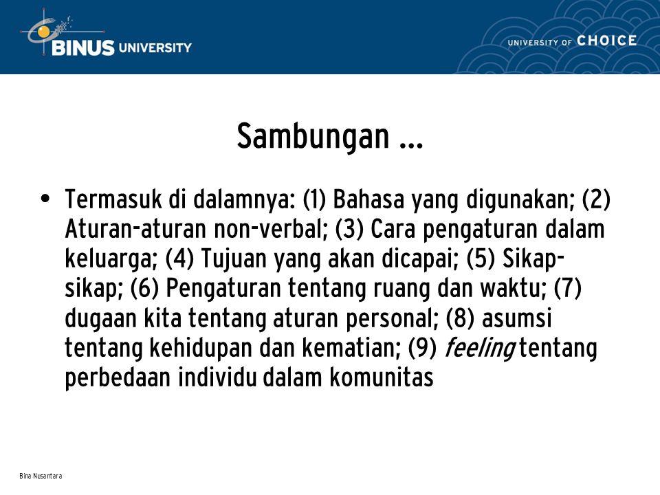 Bina Nusantara Sambungan … Termasuk di dalamnya: (1) Bahasa yang digunakan; (2) Aturan-aturan non-verbal; (3) Cara pengaturan dalam keluarga; (4) Tuju