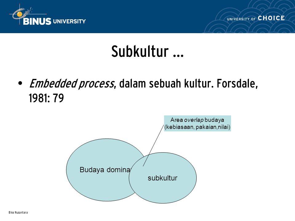 Bina Nusantara Subkultur … Embedded process, dalam sebuah kultur. Forsdale, 1981: 79 Budaya dominan subkultur Area overlap budaya (kebiasaan, pakaian,