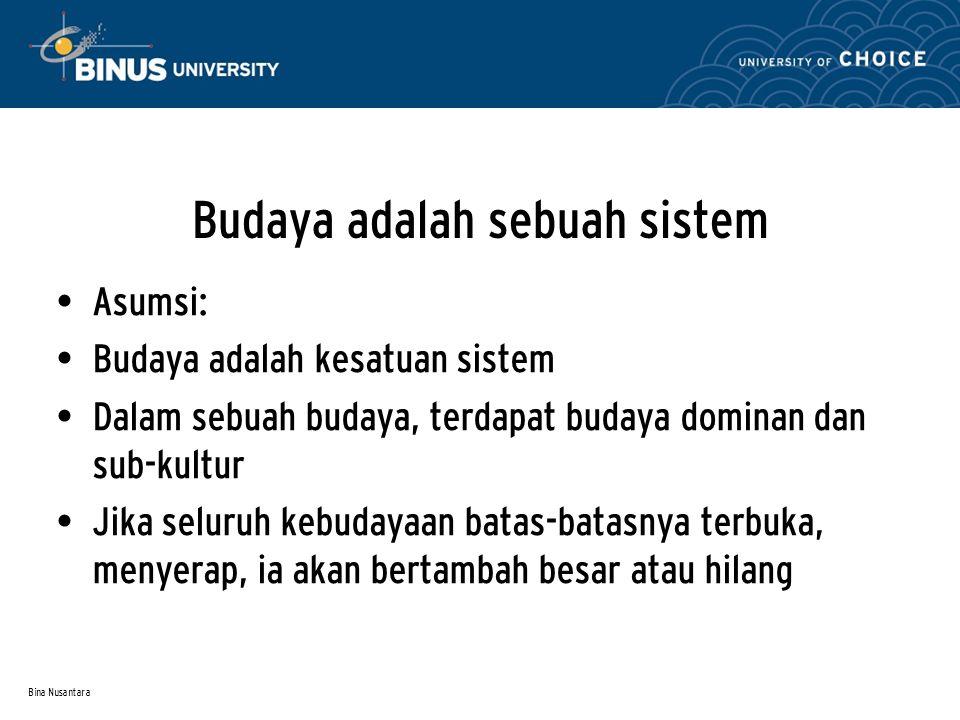 Bina Nusantara Budaya adalah sebuah sistem Asumsi: Budaya adalah kesatuan sistem Dalam sebuah budaya, terdapat budaya dominan dan sub-kultur Jika seluruh kebudayaan batas-batasnya terbuka, menyerap, ia akan bertambah besar atau hilang
