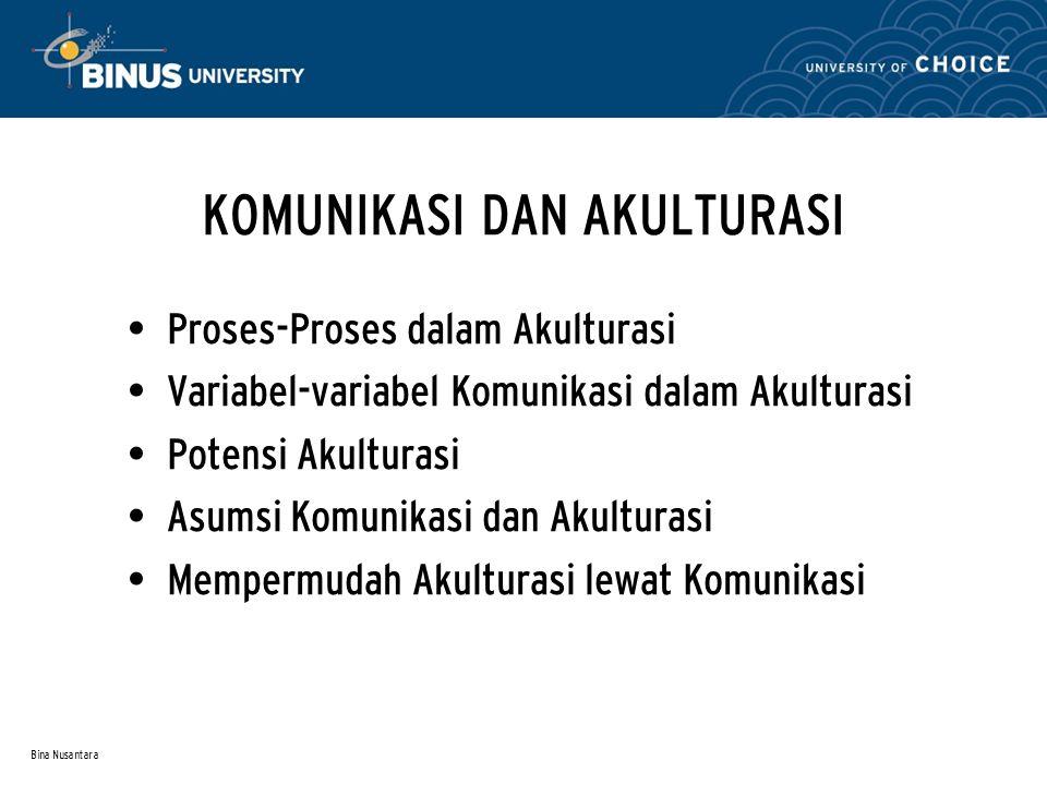 Bina Nusantara KOMUNIKASI DAN AKULTURASI Proses-Proses dalam Akulturasi Variabel-variabel Komunikasi dalam Akulturasi Potensi Akulturasi Asumsi Komunikasi dan Akulturasi Mempermudah Akulturasi lewat Komunikasi