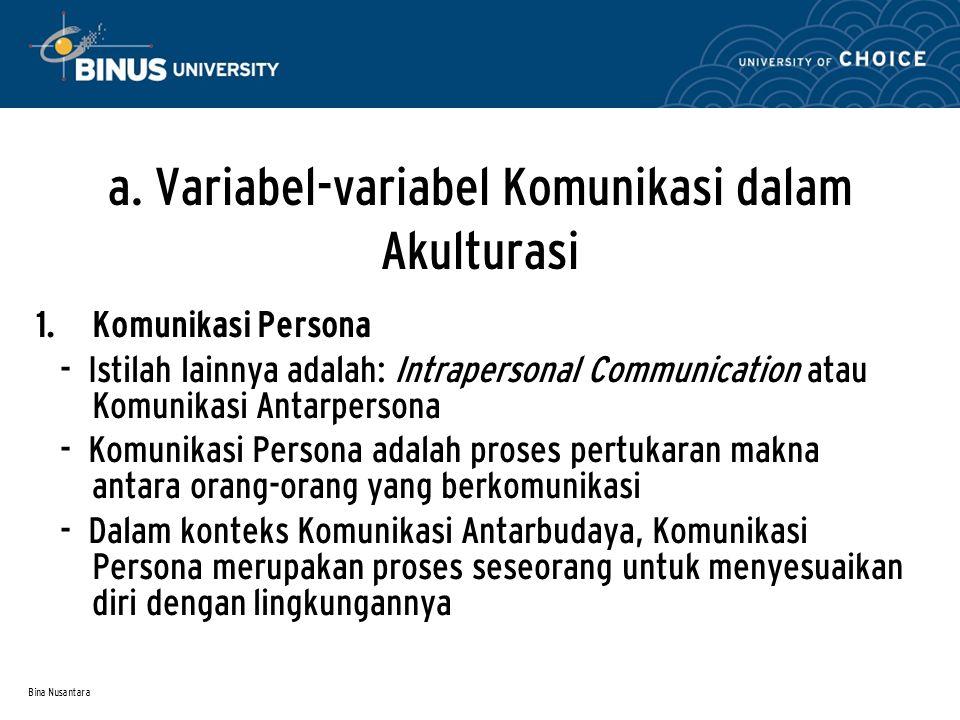 Bina Nusantara a. Variabel-variabel Komunikasi dalam Akulturasi  Komunikasi Persona - Istilah lainnya adalah: Intrapersonal Communication atau Komun