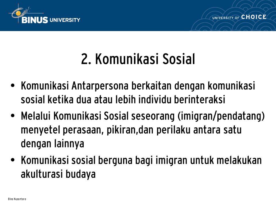 Bina Nusantara 2. Komunikasi Sosial Komunikasi Antarpersona berkaitan dengan komunikasi sosial ketika dua atau lebih individu berinteraksi Melalui Kom