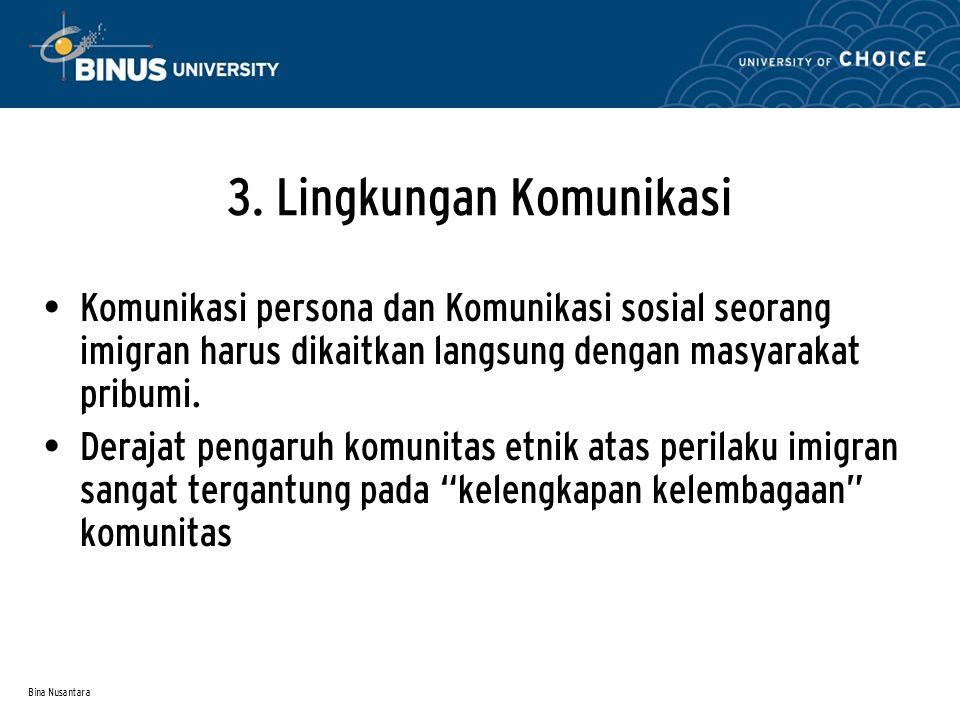 Bina Nusantara 3. Lingkungan Komunikasi Komunikasi persona dan Komunikasi sosial seorang imigran harus dikaitkan langsung dengan masyarakat pribumi. D