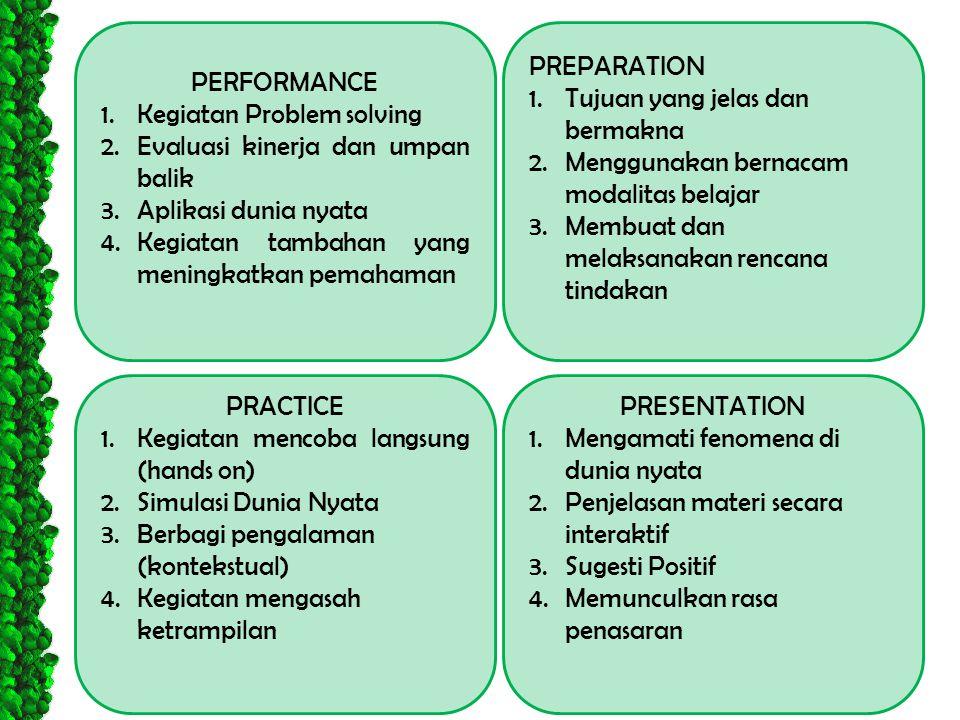 PERFORMANCE 1.Kegiatan Problem solving 2.Evaluasi kinerja dan umpan balik 3.Aplikasi dunia nyata 4.Kegiatan tambahan yang meningkatkan pemahaman PRESE