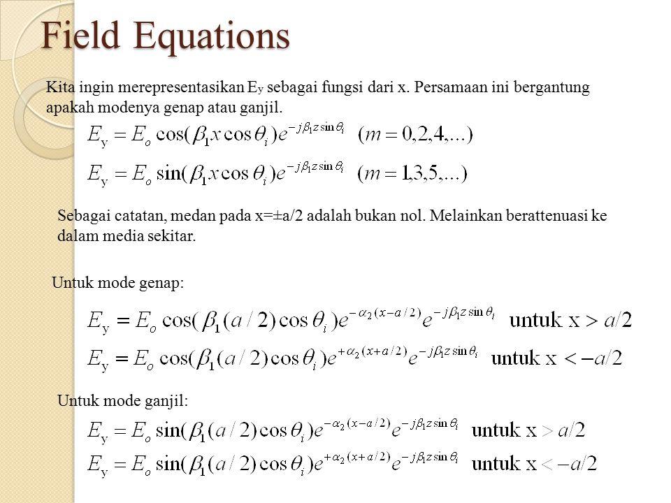 Field Equations Kita ingin merepresentasikan E y sebagai fungsi dari x. Persamaan ini bergantung apakah modenya genap atau ganjil. Sebagai catatan, me