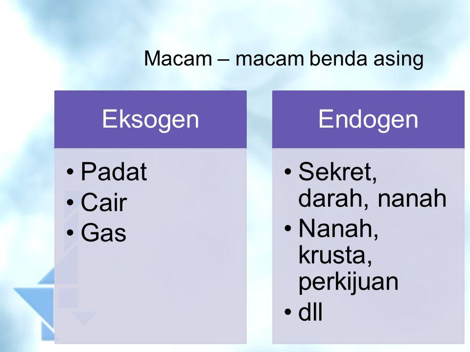 Macam – macam benda asing Eksogen Padat Cair Gas Endogen Sekret, darah, nanah Nanah, krusta, perkijuan dll
