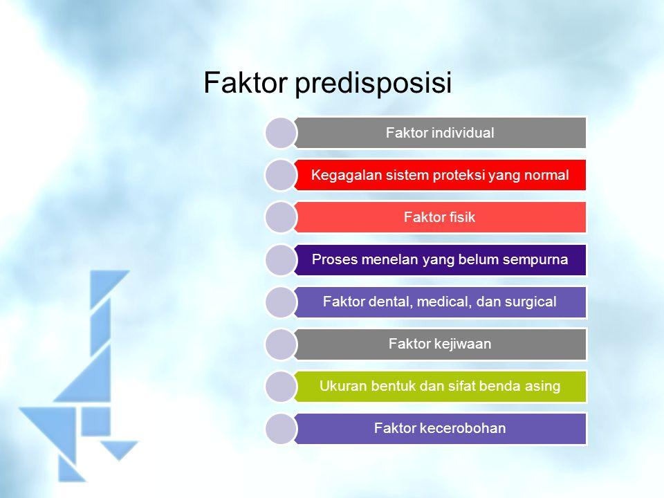 Faktor predisposisi Faktor individual Kegagalan sistem proteksi yang normal Faktor fisik Proses menelan yang belum sempurna Faktor dental, medical, da