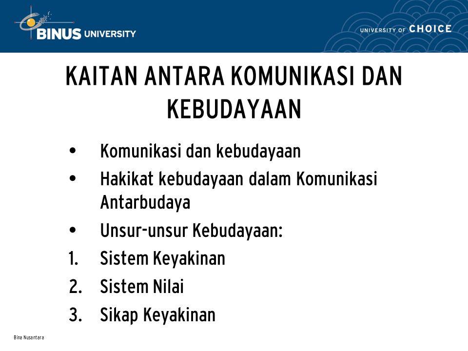 Bina Nusantara Komunikasi dan Kebudayaan Unsur penting KAB adalah Komunikasi dan Kebudayaan Pandangan Sarbaugh (1979) bahwa Komunikasi Antarbudaya harus ada pemahaman utuh tentang komunikasi dan kebudayaan.