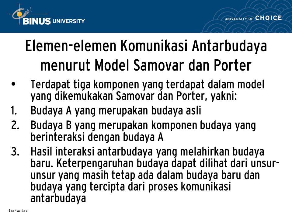 Bina Nusantara Elemen-elemen Komunikasi Antarbudaya menurut Model Samovar dan Porter Terdapat tiga komponen yang terdapat dalam model yang dikemukakan Samovar dan Porter, yakni:  Budaya A yang merupakan budaya asli  Budaya B yang merupakan komponen budaya yang berinteraksi dengan budaya A  Hasil interaksi antarbudaya yang melahirkan budaya baru.