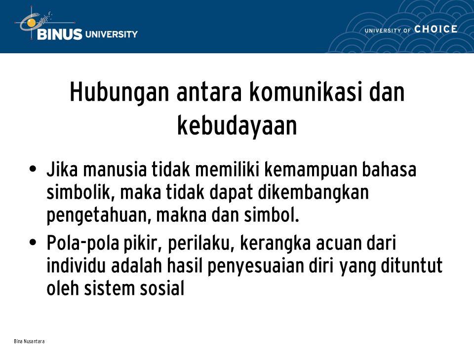 Bina Nusantara Hubungan antara komunikasi dan kebudayaan Jika manusia tidak memiliki kemampuan bahasa simbolik, maka tidak dapat dikembangkan pengetahuan, makna dan simbol.