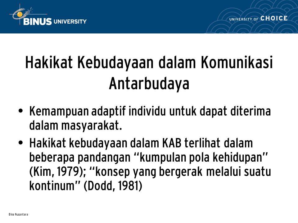Bina Nusantara Sambungan… Menurut Ruben (1984), terdapat tiga karakter budaya:  Kebudayaan bersifat kompleks  Kebudayaan tidak dapat dilihat  Kebudayaan berubah seiring berjalannya waktu