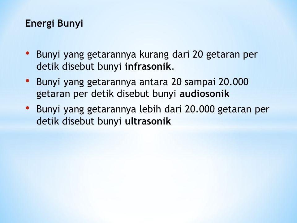 Energi Bunyi Bunyi yang getarannya kurang dari 20 getaran per detik disebut bunyi infrasonik.