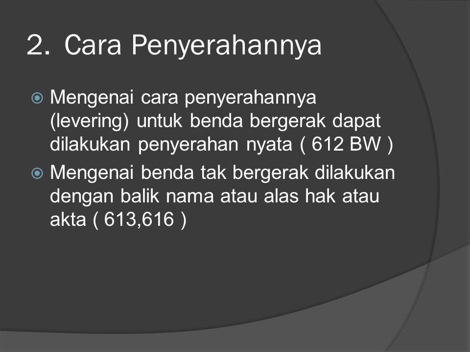 3.Cara Pembebanannya (bezwaring)  Untuk benda bergerak dapat dibebankan gadai (pand) (pasal 1150 BW)  Untuk benda tak bergerak dapat dibebankan hipotek (pasal 1162 BW)