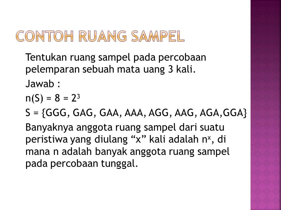 Tentukan ruang sampel pada percobaan pelemparan sebuah mata uang 3 kali. Jawab : n(S) = 8 = 2 3 S = {GGG, GAG, GAA, AAA, AGG, AAG, AGA,GGA} Banyaknya