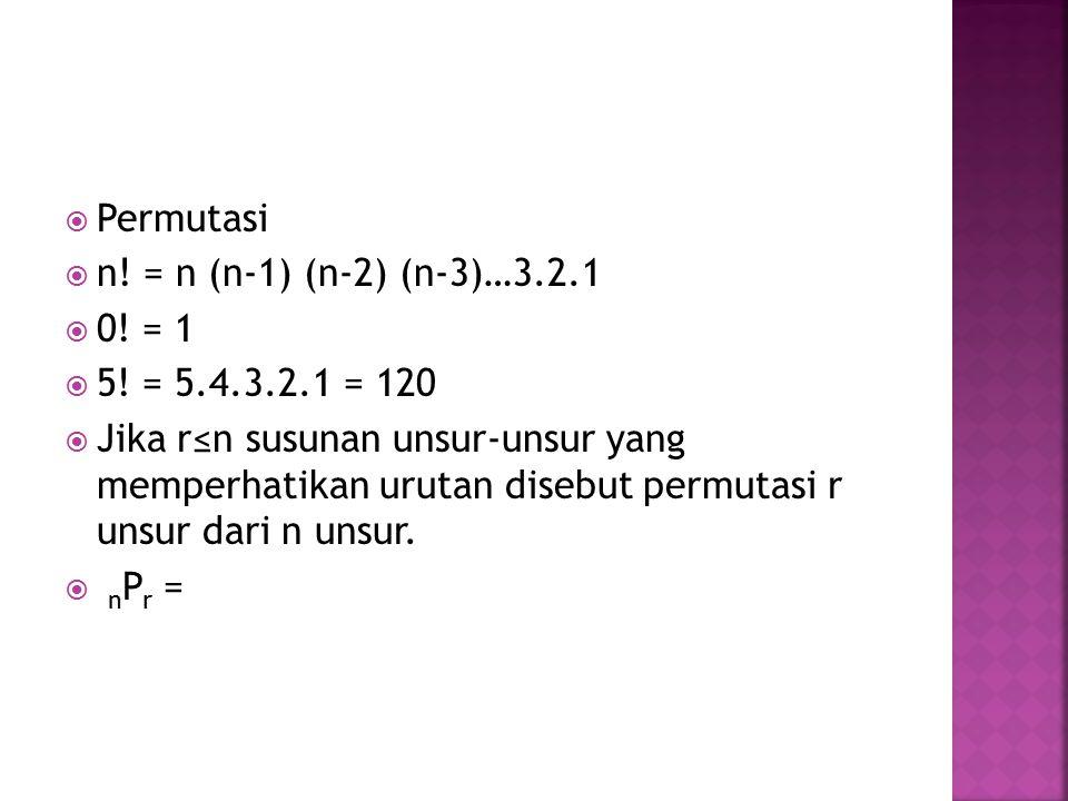  Permutasi  n! = n (n-1) (n-2) (n-3)…3.2.1  0! = 1  5! = 5.4.3.2.1 = 120  Jika r≤n susunan unsur-unsur yang memperhatikan urutan disebut permutas