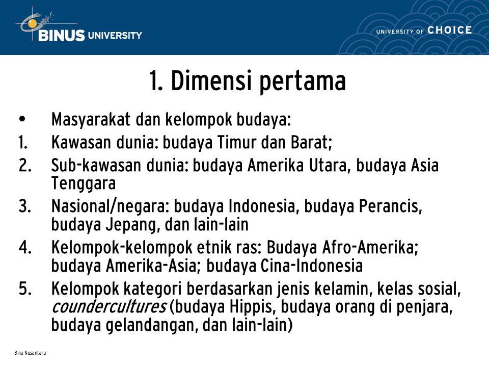 Bina Nusantara 1. Dimensi pertama Masyarakat dan kelompok budaya:  Kawasan dunia: budaya Timur dan Barat;  Sub-kawasan dunia: budaya Amerika Utara