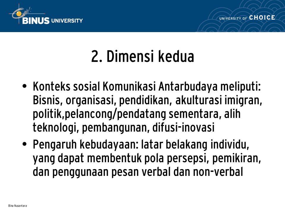 Bina Nusantara 2. Dimensi kedua Konteks sosial Komunikasi Antarbudaya meliputi: Bisnis, organisasi, pendidikan, akulturasi imigran, politik,pelancong/