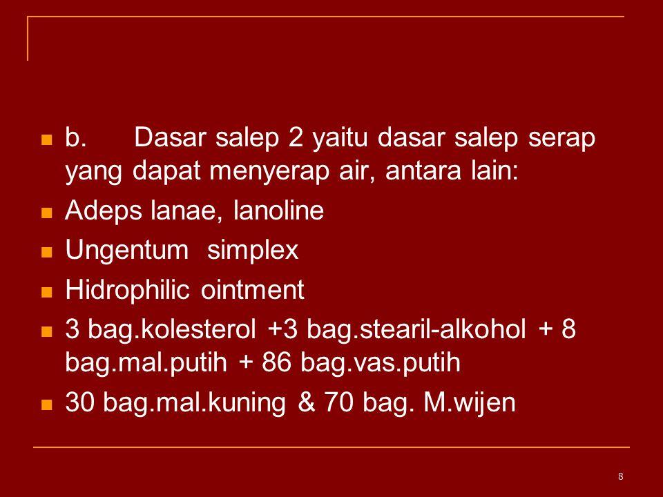 c.Dasar salep 3 yaitu dasar salep yang dapat dicuci dengan air.