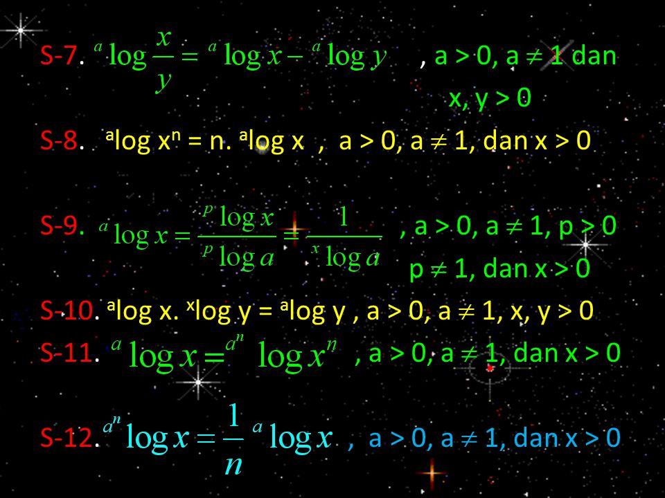 S-7., a > 0, a  1 dan x, y > 0 S-8. a log x n = n. a log x, a > 0, a  1, dan x > 0 S-9., a > 0, a  1, p > 0 p  1, dan x > 0 S-10. a log x. x log y