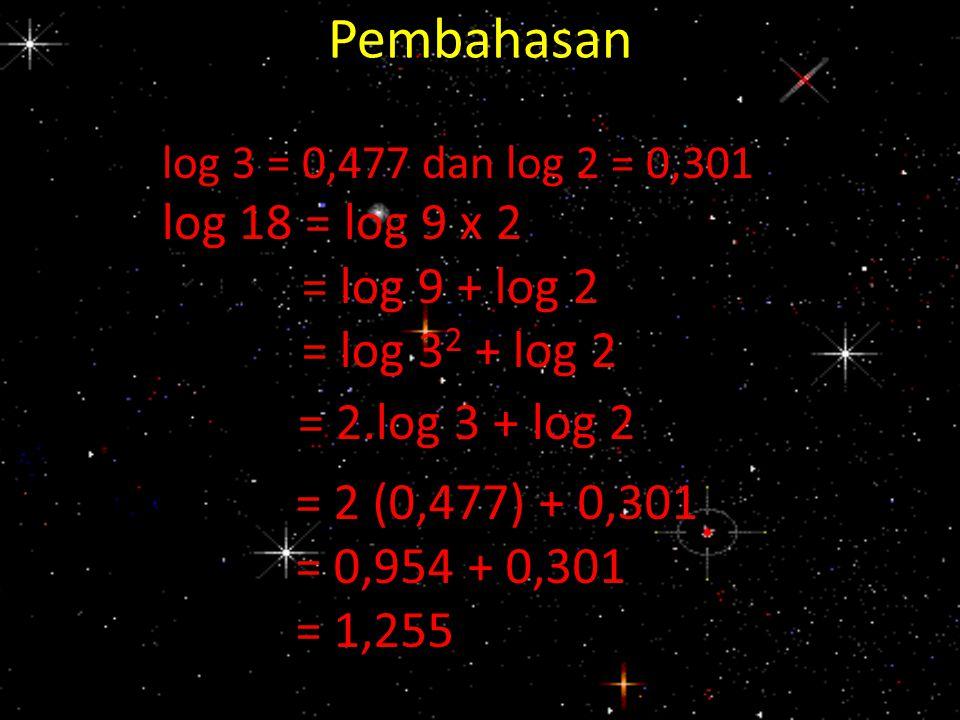 Pembahasan log 3 = 0,477 dan log 2 = 0,301 log 18 = log 9 x 2 = log 9 + log 2 = log 3 2 + log 2 = 2.log 3 + log 2 = 2 (0,477) + 0,301 = 0,954 + 0,301