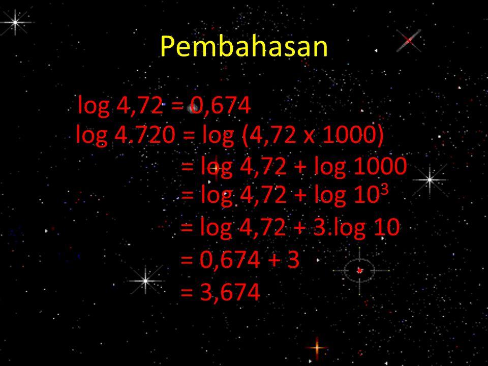 Pembahasan log 4,72 = 0,674 log 4.720 = log (4,72 x 1000) = log 4,72 + log 1000 = log 4,72 + log 10 3 = log 4,72 + 3.log 10 = 0,674 + 3 = 3,674