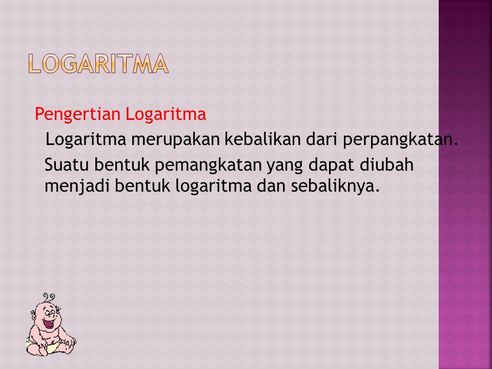 Pengertian Logaritma Logaritma merupakan kebalikan dari perpangkatan.
