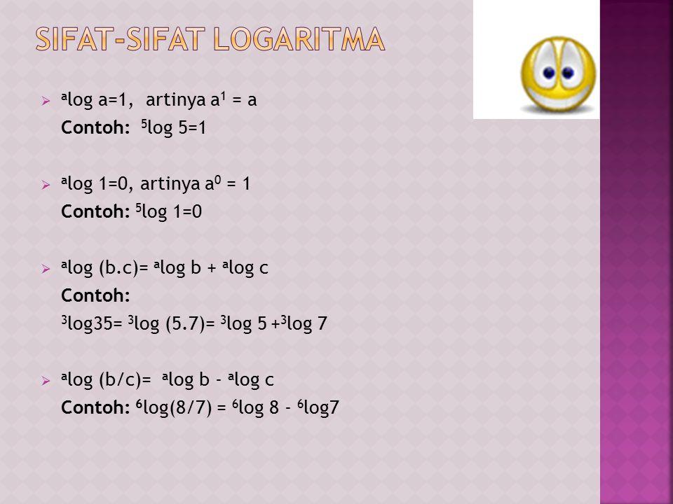  a log b n = n.a log b Contoh: 3 log 25= 3 log 5 2 = 2.