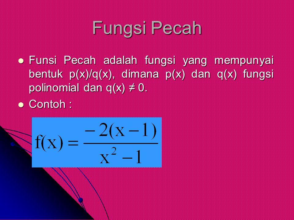 Fungsi Pecah Funsi Pecah adalah fungsi yang mempunyai bentuk p(x)/q(x), dimana p(x) dan q(x) fungsi polinomial dan q(x) ≠ 0. Funsi Pecah adalah fungsi