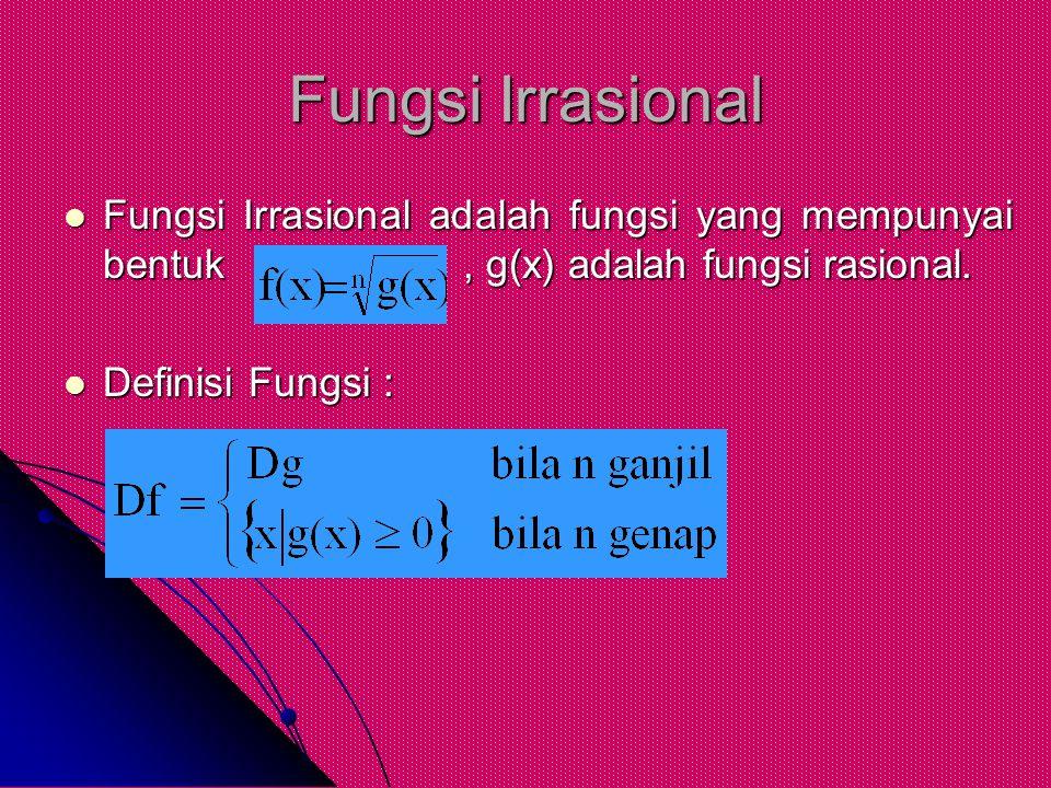 Fungsi Irrasional Fungsi Irrasional adalah fungsi yang mempunyai bentuk, g(x) adalah fungsi rasional. Fungsi Irrasional adalah fungsi yang mempunyai b