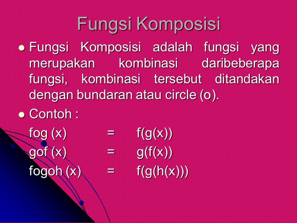 Fungsi Komposisi Fungsi Komposisi adalah fungsi yang merupakan kombinasi daribeberapa fungsi, kombinasi tersebut ditandakan dengan bundaran atau circl