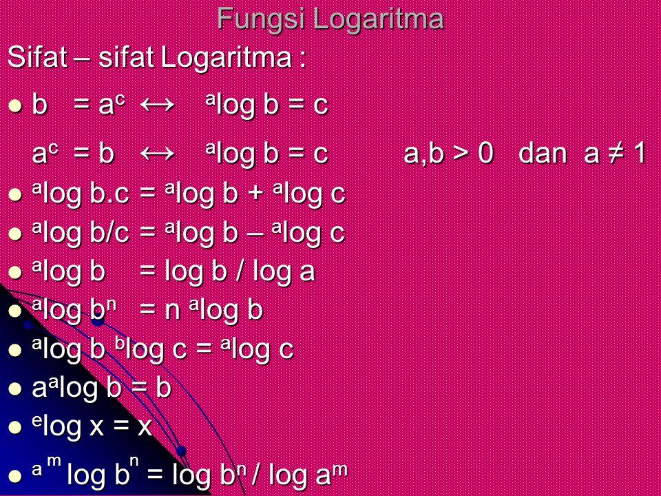 Fungsi Logaritma Sifat – sifat Logaritma : b= ac↔alog b = c ac= b↔alog b = ca,b > 0 dan a ≠ 1 alog b.c= alog b + alog c alog b/c= alog b – alog c alog