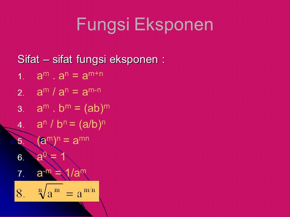 Fungsi Eksponen Sifat – sifat fungsi eksponen : 1. 1. a m. a n = a m+n 2. 2. a m / a n = a m-n 3. 3. a m. b m = (ab) m 4. 4. a n / b n = (a/b) n 5. 5.
