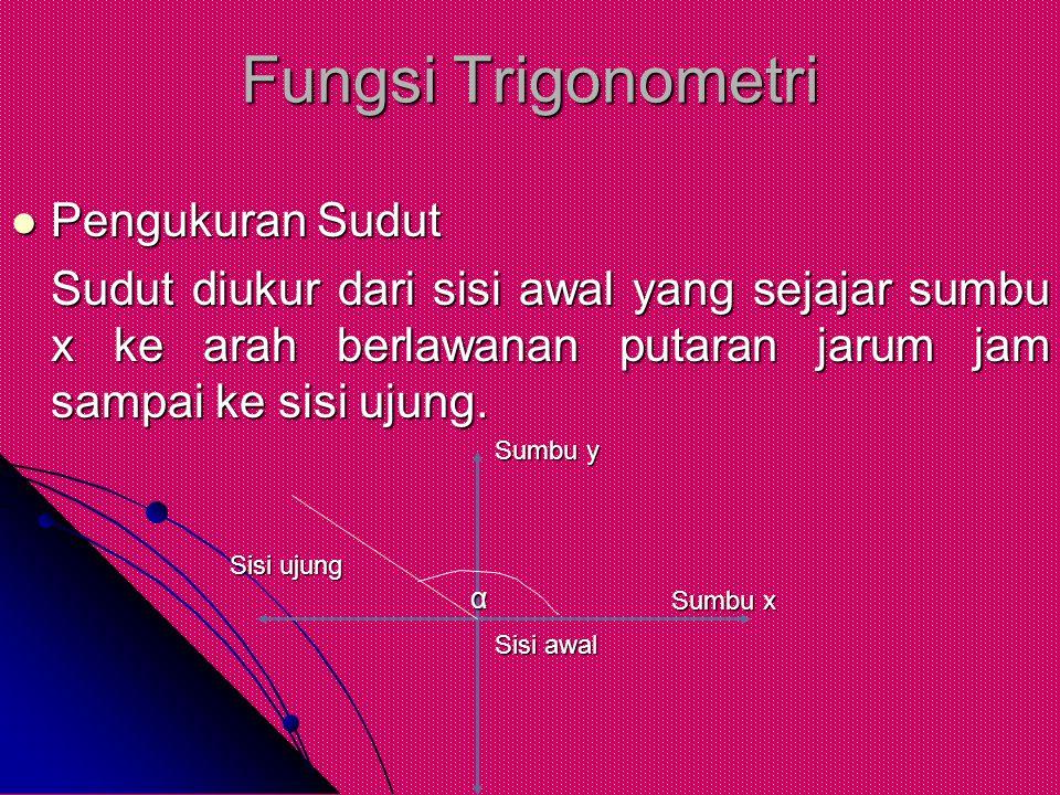 Fungsi Trigonometri Pengukuran Sudut Pengukuran Sudut Sudut diukur dari sisi awal yang sejajar sumbu x ke arah berlawanan putaran jarum jam sampai ke