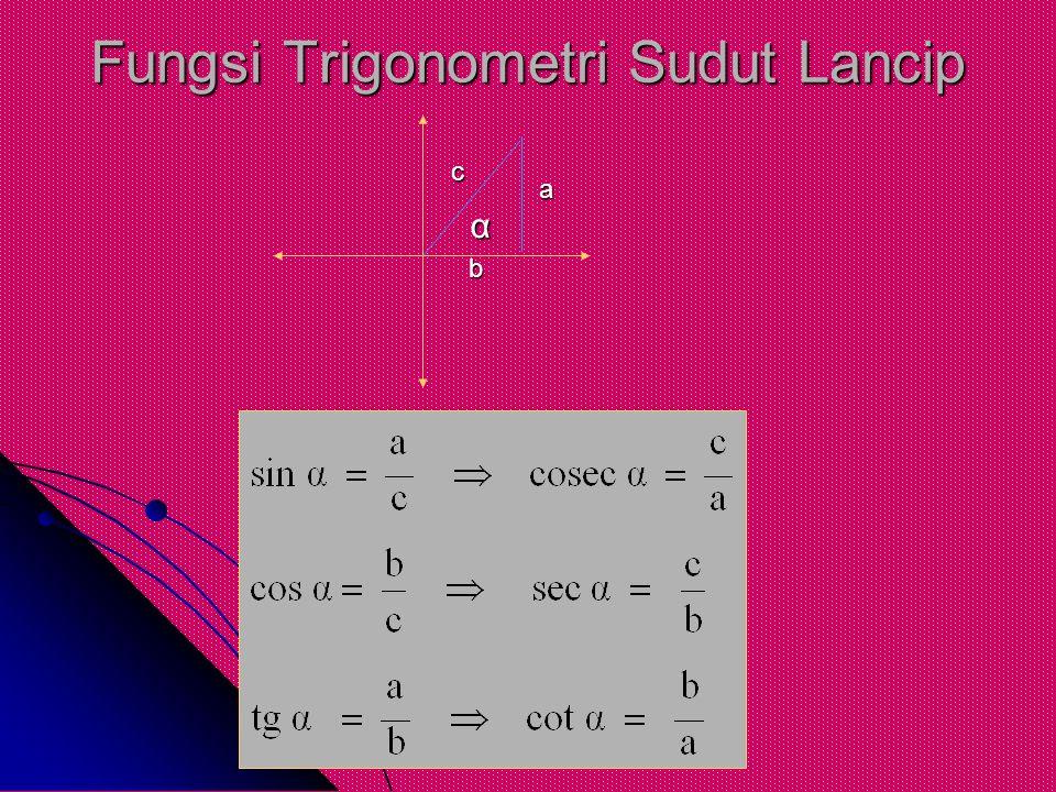 Fungsi Trigonometri Sudut Lancip α a b c