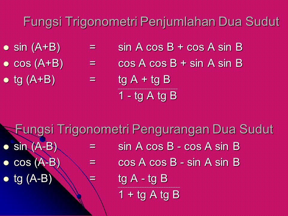 Fungsi Trigonometri Penjumlahan Dua Sudut sin (A+B)=sin A cos B + cos A sin B sin (A+B)=sin A cos B + cos A sin B cos (A+B)=cos A cos B + sin A sin B