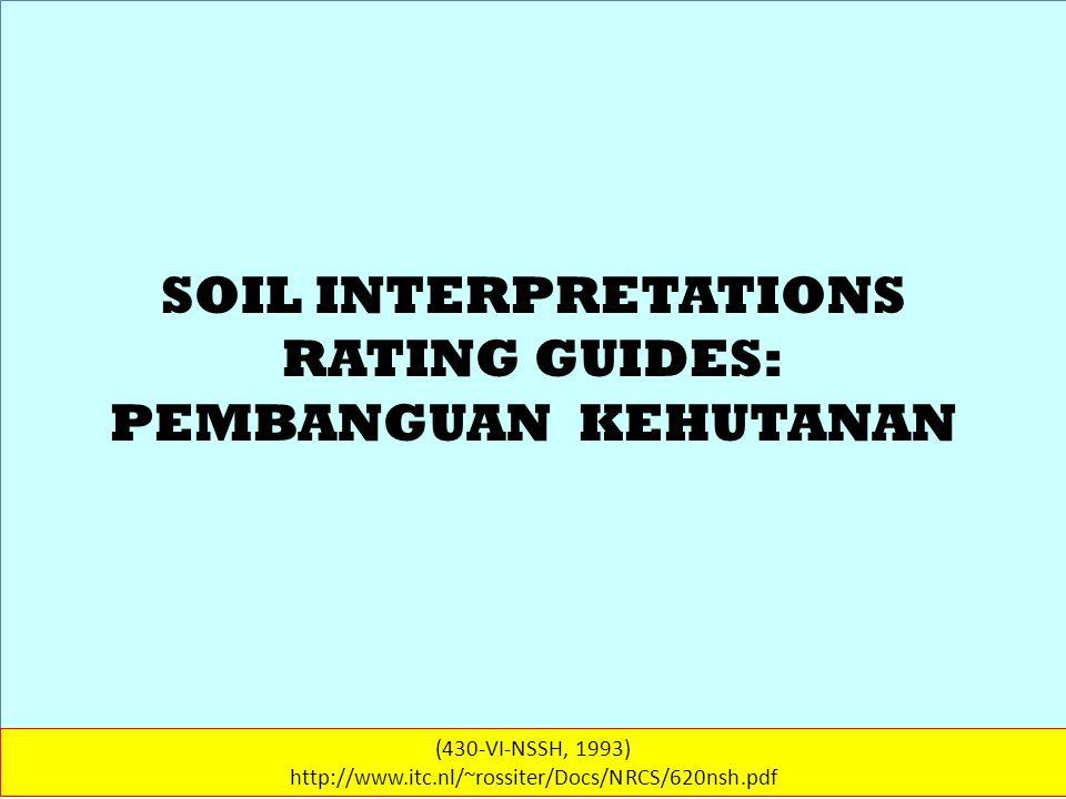 SOIL INTERPRETATIONS RATING GUIDES (430-VI-NSSH, 1993) http://www.itc.nl/~rossiter/Docs/NRCS/620nsh.pdf KEHUTANAN (2) The affects of prescribed burning on the vegetation are influenced by the soil.