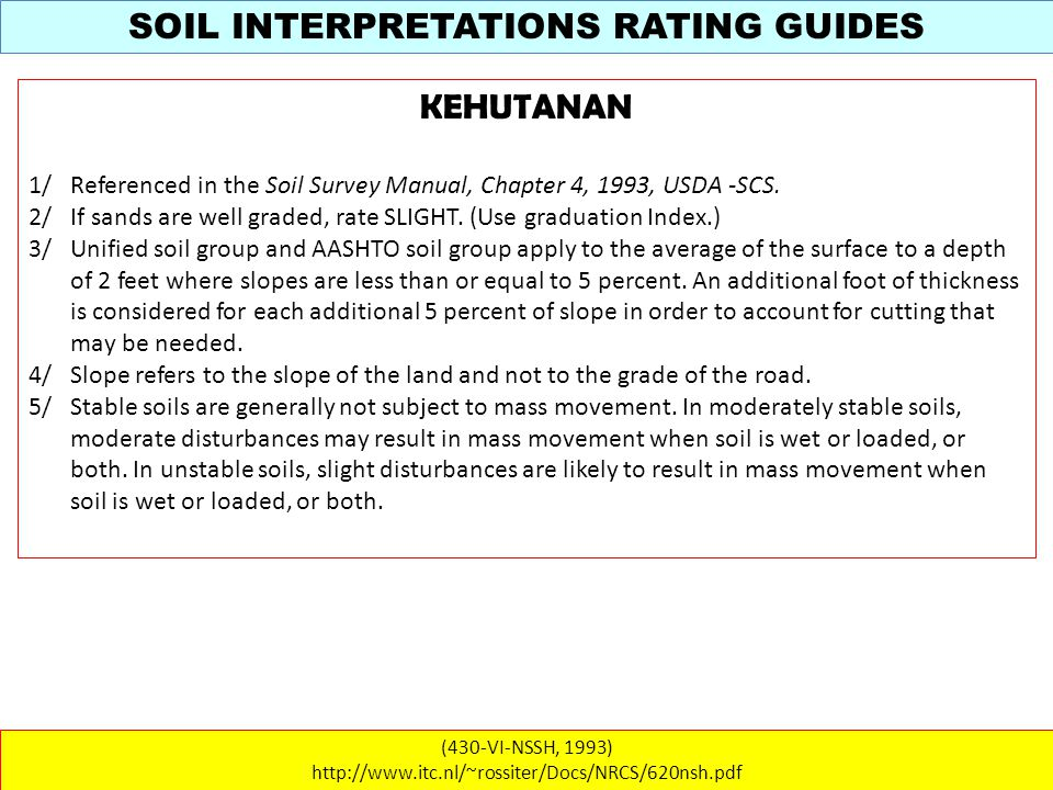 SOIL INTERPRETATIONS RATING GUIDES (430-VI-NSSH, 1993) http://www.itc.nl/~rossiter/Docs/NRCS/620nsh.pdf KEHUTANAN 1/ Referenced in the Soil Survey Manual, Chapter 4, 1993, USDA -SCS.