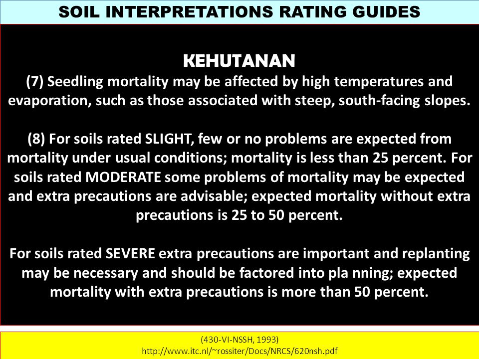 SOIL INTERPRETATIONS RATING GUIDES (430-VI-NSSH, 1993) http://www.itc.nl/~rossiter/Docs/NRCS/620nsh.pdf KEHUTANAN (7) Seedling mortality may be affected by high temperatures and evaporation, such as those associated with steep, south-facing slopes.