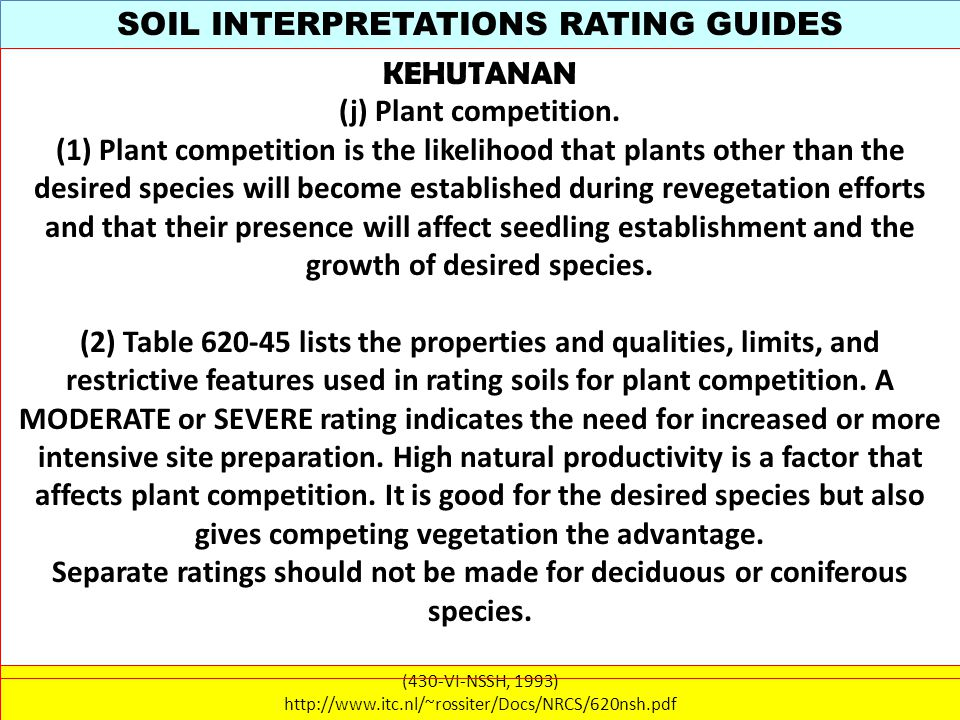 SOIL INTERPRETATIONS RATING GUIDES (430-VI-NSSH, 1993) http://www.itc.nl/~rossiter/Docs/NRCS/620nsh.pdf KEHUTANAN (j) Plant competition.
