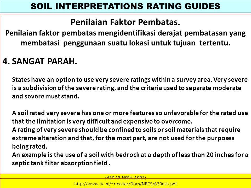 SOIL INTERPRETATIONS RATING GUIDES (430-VI-NSSH, 1993) http://www.itc.nl/~rossiter/Docs/NRCS/620nsh.pdf Penilaian Faktor Pembatas.