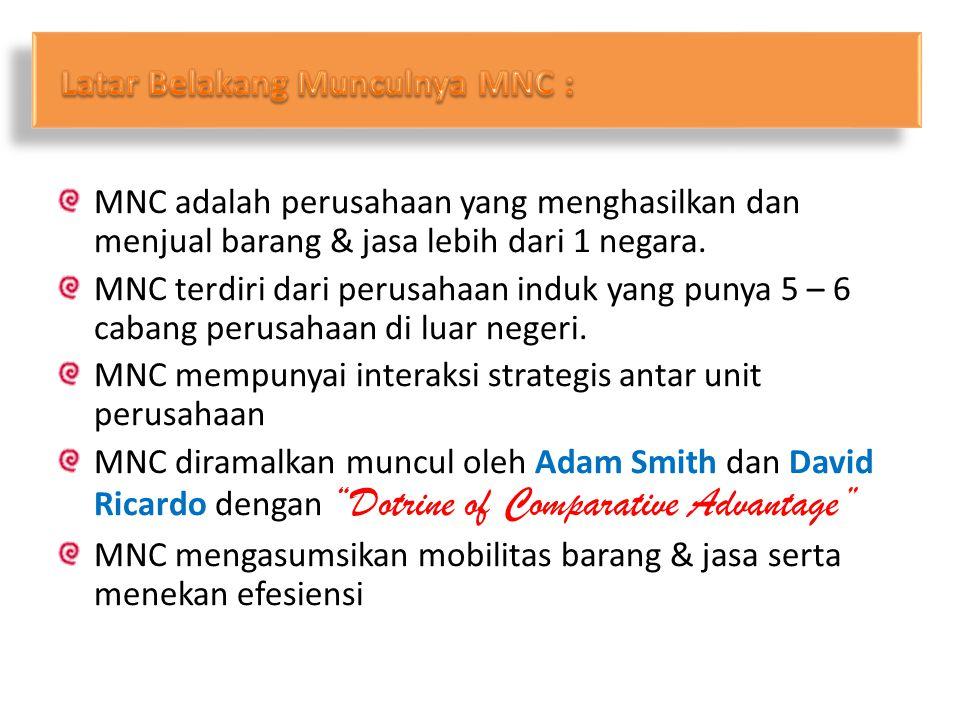 MNC adalah perusahaan yang menghasilkan dan menjual barang & jasa lebih dari 1 negara. MNC terdiri dari perusahaan induk yang punya 5 – 6 cabang perus