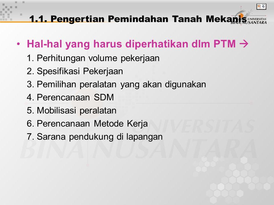 Hal-hal yang harus diperhatikan dlm PTM  1. Perhitungan volume pekerjaan 2. Spesifikasi Pekerjaan 3. Pemilihan peralatan yang akan digunakan 4. Peren