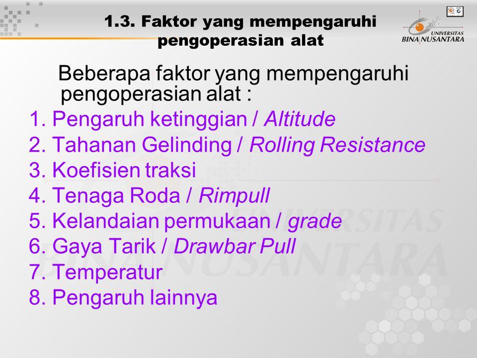 1.3. Faktor yang mempengaruhi pengoperasian alat Beberapa faktor yang mempengaruhi pengoperasian alat : 1. Pengaruh ketinggian / Altitude 2. Tahanan G